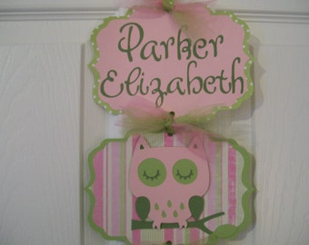 Baby Girl Hospital Door Banner -  Girl Door Sign - Girl Hospital Sign-  Owl Baby Girl Sign - 3 cards