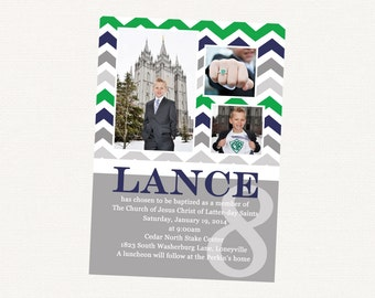 adorable chevron LDS baptism invitation