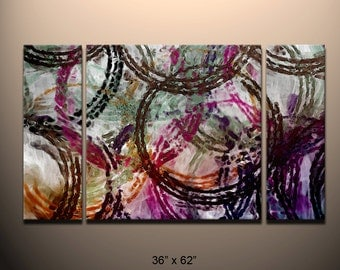 """HUGE 3 piece Triptych Abstract canvas wall art giclee print  fully stretched and ready to hang Modern contemporary art  """"Circle of Life"""""""