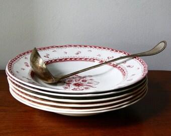 Vintage Arabia of Finland Finn Flower Red Soup Bowls Set of 5