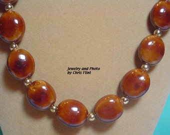 Warm brown and gold porcelian bead necklace and earrings set