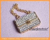 1PCS Bling Crystal Rhinestone handbags bag flatback Alloy jewelry For Phone case deco