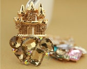 1PCS Bling Champagne gem Crystal Castle Alloy jewelry Accessories materials supplies