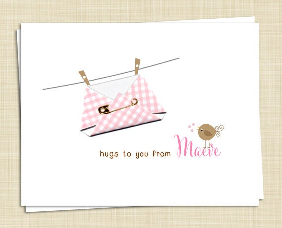 10 Personalized Baby Thank You Cards - Girl Boy Gender Neutral - Handmade - PRINTED