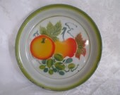 "Enamelware Tray, 14"" Metal Fruit Tray, Vegetables Tole Painted with Blue Trim, Serving Tray"
