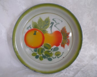 """Enamelware Tray, 14"""" Metal Fruit Tray, Vegetables Tole Painted with Blue Trim Serving Tray"""