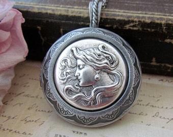 Girl Cameo Locket Necklace, Antique Silver Art Nouveau Large Locket Necklace, Vintage Inspired Women Locket Necklace
