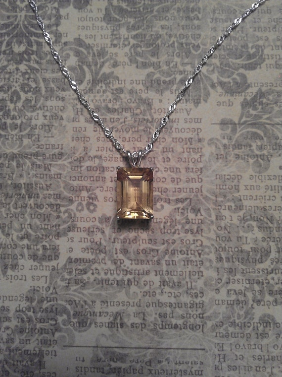 Beautiful Emerald Cut Faceted Natural Citrine in Artisan Sterling Silver Prong Pendant Necklace-Custom Necklace Options Available.