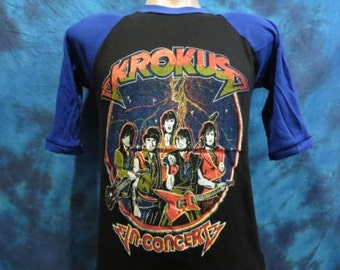 Small** Deadstock vintage 80s KROKUS Concert Jersey T-Shirt rock metal tour raglan concert soft thin rocker