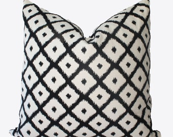 Decorative Designer Ikat Diamond,  Reversible Pillow Cover, Black, 18x18, 20x20, 22x22 or Lumbar Throw Pillow