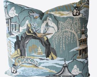 Decorative Designer Chinoiserie Toile, Teal, Aqua, Pillow Cover, 18x18, 20x20, 22x22 or Lumbar Throw Piillow