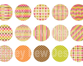 Instant Download - Digital Collage Sheet - 1inch circles - 016