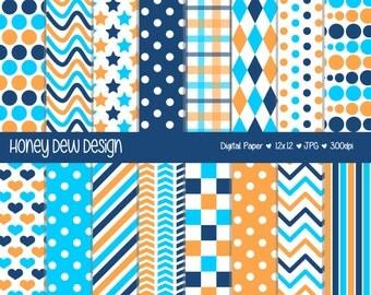 Instant Download - Digital Paper Pack 327 Orange and Blue Patterned Paper