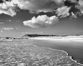 Black and White BW Martha's Vineyard Moshup Beach Photography Oversized Print Coastal Decor Large Wall Art Cape Cod Grey Silver Ocean Sea