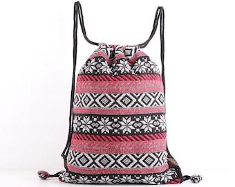 Floral Drawstring Backpack Tribal Snow flex Cinch bag Cloth Bag Toy Storage, Kids Book Bag