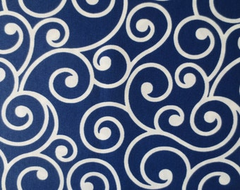 OUTDOOR Pillow Cover in a Navy Blue and White Swirl Print