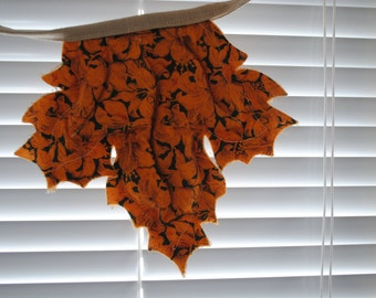 Fall Leaf Bunting - stitched, quilted