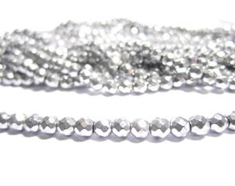 "4mm Silver tone hematite beads - sparkling faceted silver hematite beads, 15.5"" strand of silver tone hematite beads, faceted hematite"