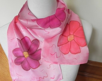 Hand Painted Silk Scarf in Shades of Red & Pink Fiesta Flowers, Silk scarf # 467, Ready to Ship