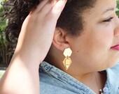 Wooden Geometric Earrings, Brass, Handmade