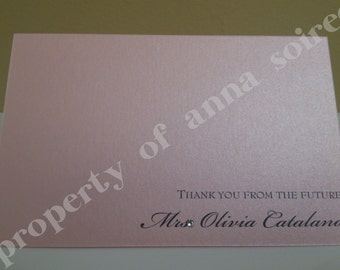 BRIDAL or BABY SHOWER- All Occasion Thank You Card - Personalized with Colors, Name, Motif & Wording