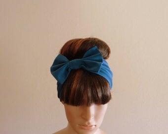 Teal Blue Bow Headband. Teal Head Wrap