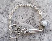 Pearl Hair Stylist Scissor Charm Bracelet