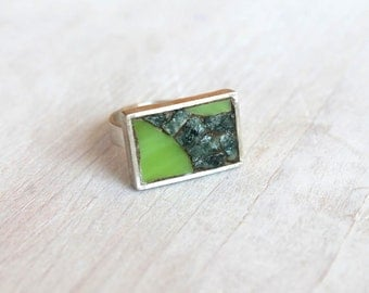 Silver ring with green mosaic / acid green glass and marble stones / mosaic ring / jewelry / Green Is The Colour
