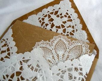 Wedding Invitation Thank you Wedding Shower Birthday Kraft Vintage Rustic n White Lace Doily w Doily Paper Lace Envelope Custom