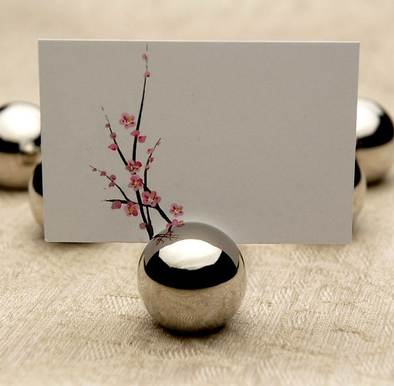 Place Card Holder Classic Round Silver Ball Stainless Steel