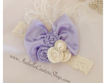 Rosettes Headband, Lavender Headband, Big Bow Headband, Vintage inspired Baby Girl headband by Isabella Couture