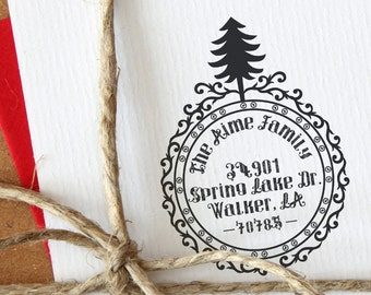 Christmas Crest - Personalized Address Stamp - Christmas - FREE SHIPPING