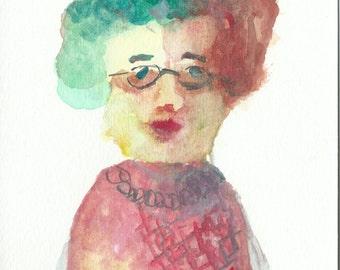 Original Watercolor Portrait Painting/ Illustration- My High School Teacher