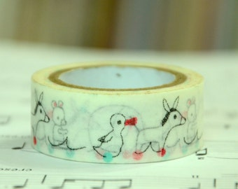 1 Roll of Japanese Washi Tape Roll- Ducks and Donkey