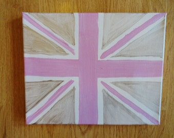 """Pink and Silver Union Jack Painting 8"""" x 10"""""""