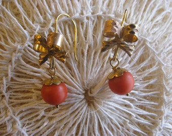 Vintage Gold Bow Earrings with Coral from Mexico