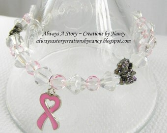 Breast Cancer Beaded Clear and Pink Stretch Bracelet, Pink Ribbon Charm, Silver tone Butterfly Beads