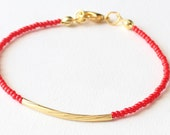 Beaded bracelet, gold tube bracelet, red bracelet, friendship bracelet, seed bead bracelet, czech glass seed beads, minimalist, simple