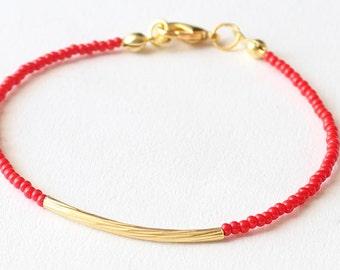 Beaded bracelet, gold tube bracelet, red bracelet, friendship bracelet, seed bead bracelet, czech glass seed beads, minimalist, simple