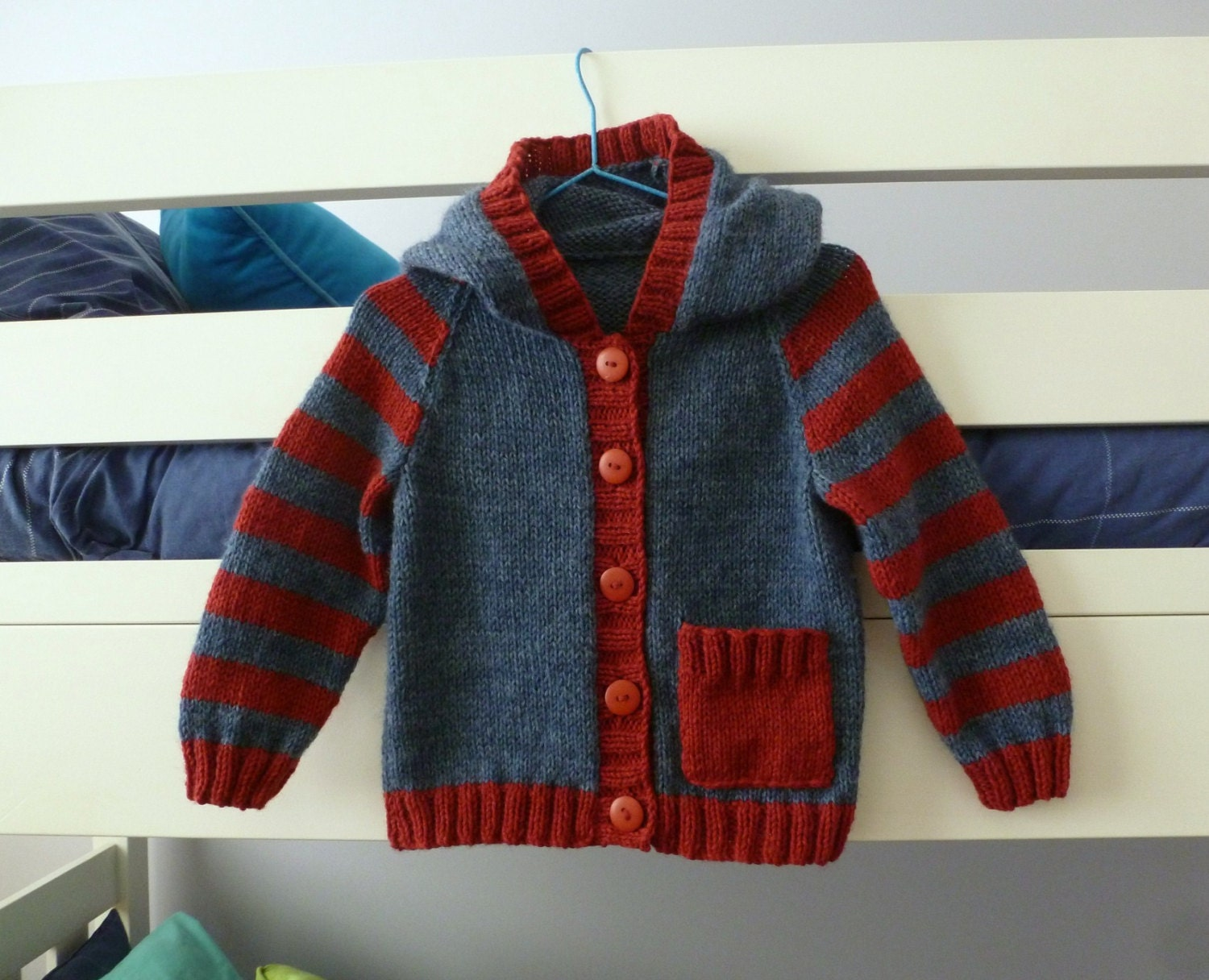 Baby Knitting Pattern Hoodie With Ears : Baby hand knitted hoodie navy with red stripes hooded