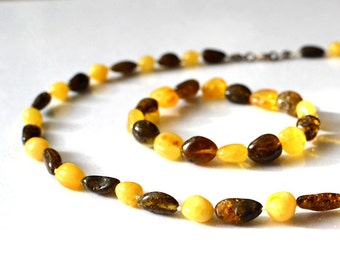 Natural Amber Necklace and Baltic Amber Bracelet Summer Gift For Her Organic Jewelry Set