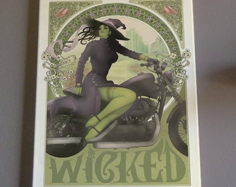 Wicked Art Wizard of Oz Painting Elphaba Motorcycle Art Nouveau Canvas Harley Davidson
