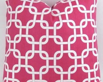 Big Pillow, Euro Sham, Floor Pillow, 24x24, 26x26, 28x28, chain link pattern, Gotcha Candy Pink White Premier Prints, FREESHIP