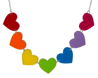 Rainbow Hearts necklace - laser cut acrylic