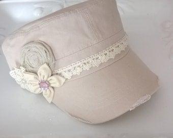 Embellished Distressed Cadet Hat Vintage Crochet Trim Handmade Flowers w/Bling