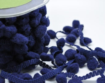 5 yards pom pom fringe - 1 inch - navy blue - trim - party favor - gift wrap - papercraft - sewing