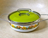 Flower pattern enamelware retro pan with green lid
