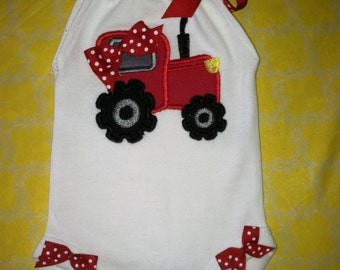 Baby Girls Big Red Tractor Romper. So cute for your little farmer girl.