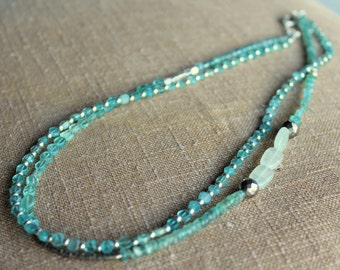 Aqua Blue Apatite 2 layer, layered necklace, tranquil colorful pop, faceted pyrite gemstone, silver accent spacers, ocean tropical beach