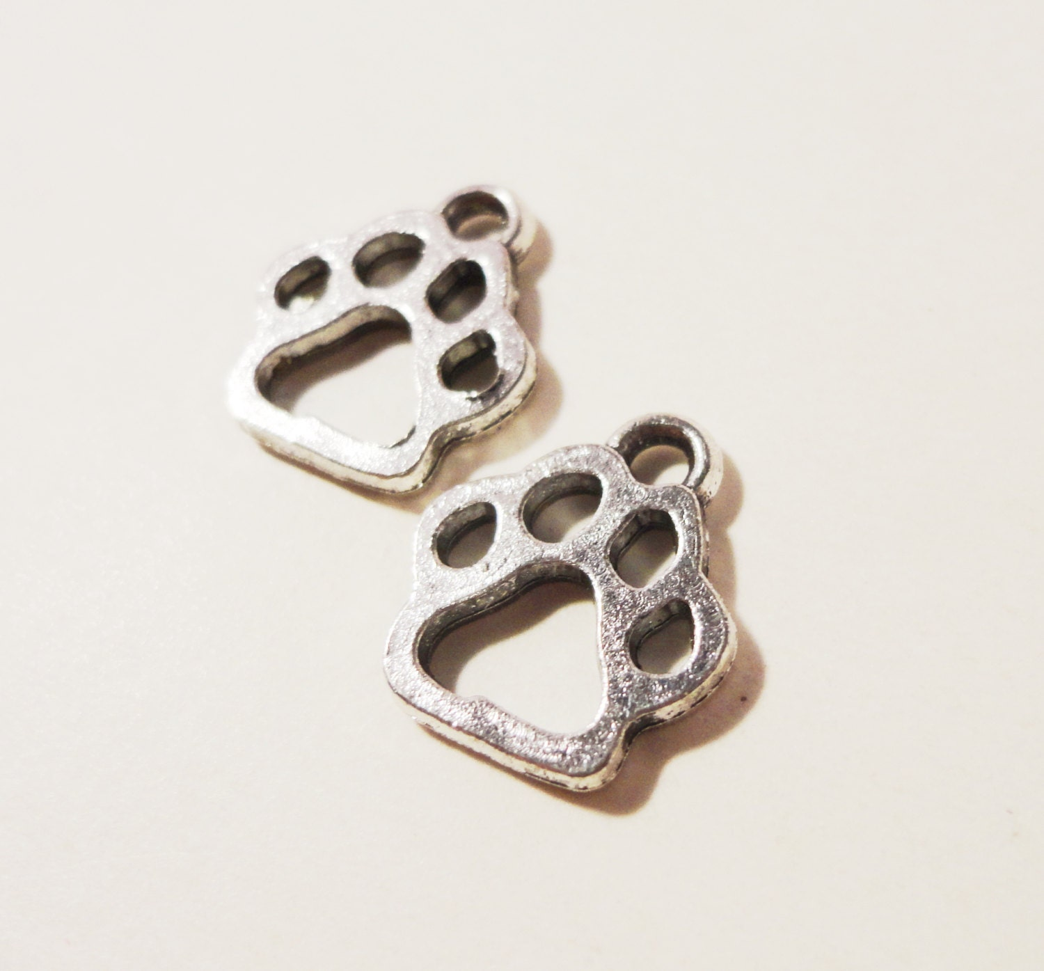 paw print charms 13x11mm antique silver metal paw charms